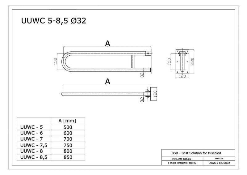 WC-Klappgriff für barrierefreies Bad weiß 70 cm ⌀ 32 mm