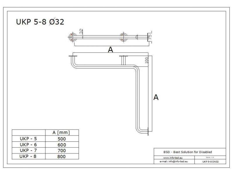 Duschhandlauf Winkelgriff für barrierefreies Bad 60/60 cm weiß ⌀ 32 mm mit Abdeckrosetten
