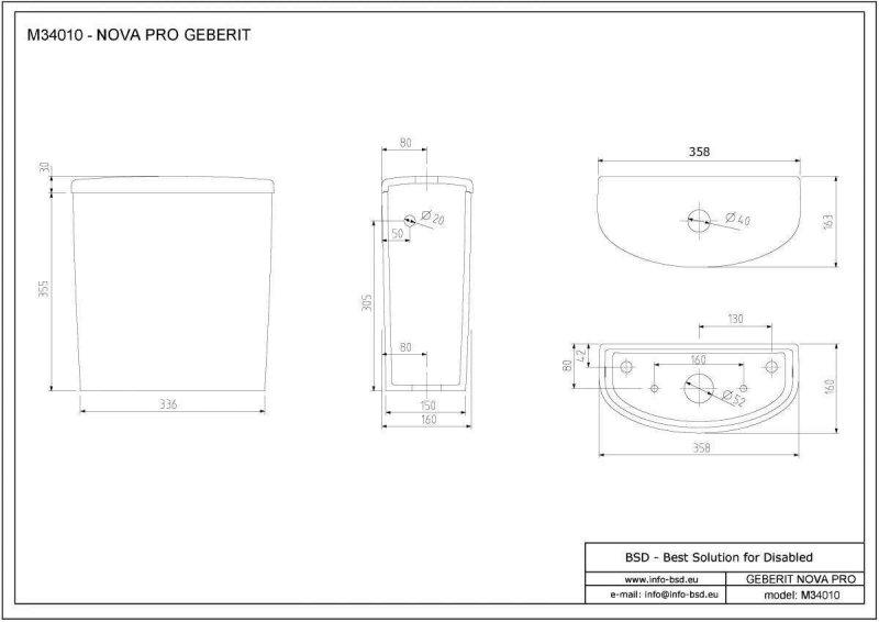 Spülkasten für Aufsatzmontage in ovaler Form