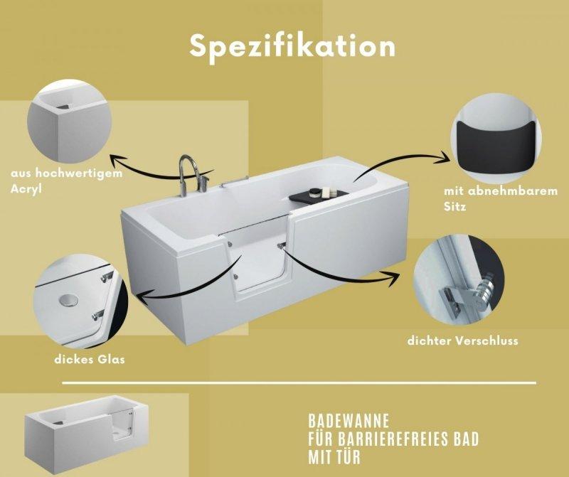 Badewanne für barrierefreies Bad mit Tür rechts und integrierter abnehmbarer Sitzbank für Senioren AVO 170 cm