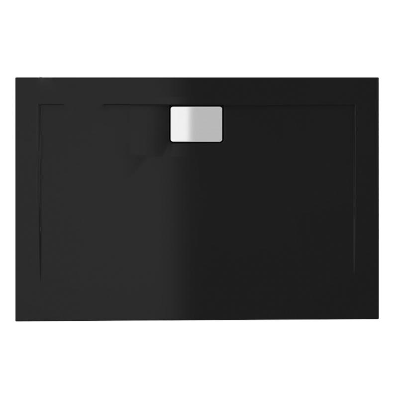 Schwarze Duschwanne für barrierefreies Bad 100 x 90 cm