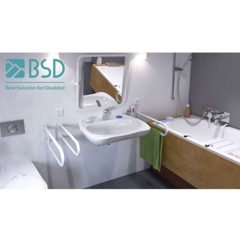 Duschhandlauf Winkelgriff für barrierefreies Bad 50/50 cm weiß ⌀ 25 mm