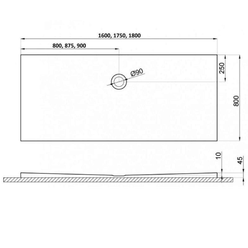 Duschwanne für barrierefreies Bad mit Abfluss seitlich in der Mitte 160 x 80 cm