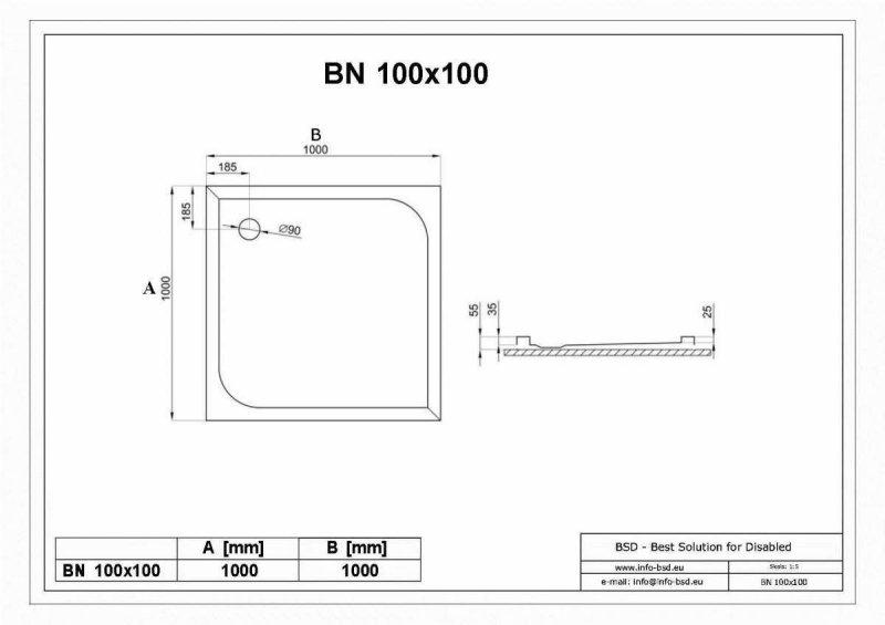 Duschwanne mit Abfluss seitig für barrierefreies Bad 100 x 100 cm