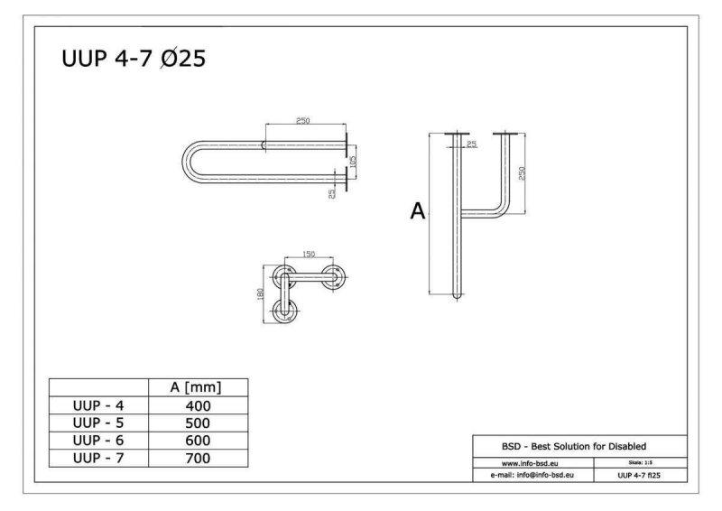 Stützgriff für barrierefreies Bad rechts montierbar 40 cm ⌀ 25 mm