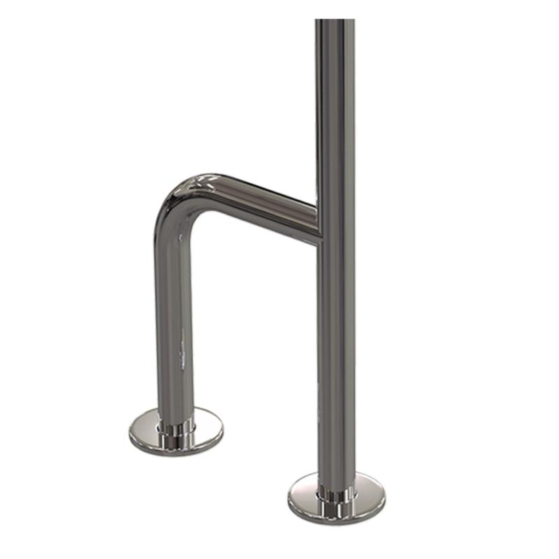 WC- Stützgrif für barrierefreies Bad f zur Wand-Boden-Montage rechts aus rostfreiem Edelstahl ⌀ 32 mit Abdeckrosetten