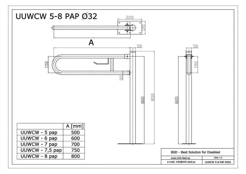WC - Klappgriff mit Toilettenpapierhalter freistehend für barrierefreies Bad aus rostfreiem Edelstahl 60 cm ⌀ 32 / 50 mm