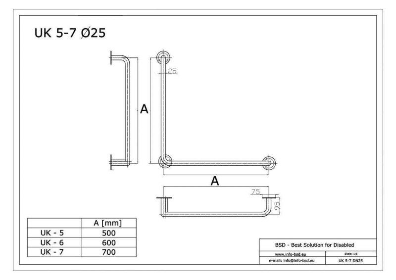 Winkelgriff für barrierefreies Bad 60/60 cm aus rostfreiem Edelstahl ⌀ 25 mm