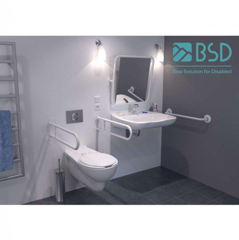 Handlauf für barrierefreies Bad 160 cm weiß ⌀ 32 mm mit Abdeckrosetten