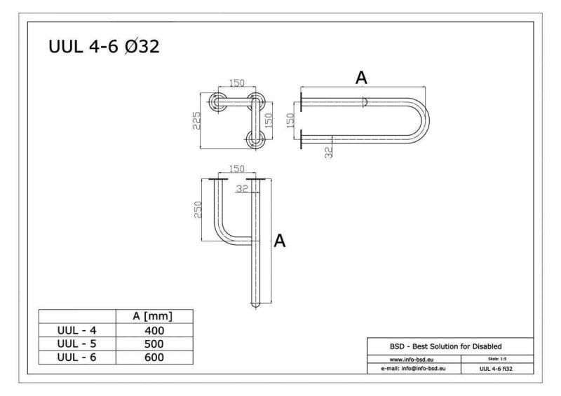 Stützgriff für barrierefreies Bad links montierbar aus rostfreiem Edelstahl 60 cm ⌀ 32 mm