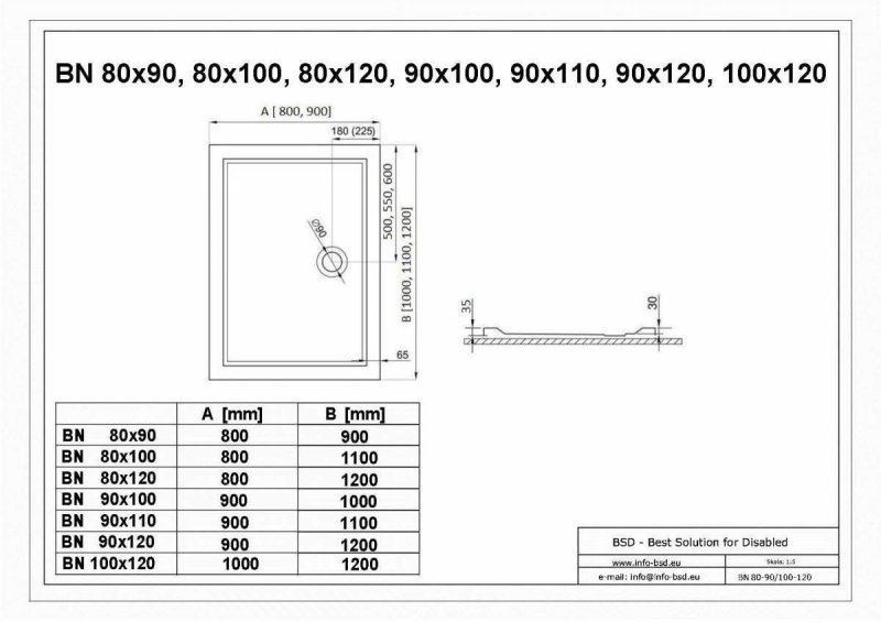 Duschwanne mit Abfluss seitig für barrierefreies Bad 90 x 80 cm