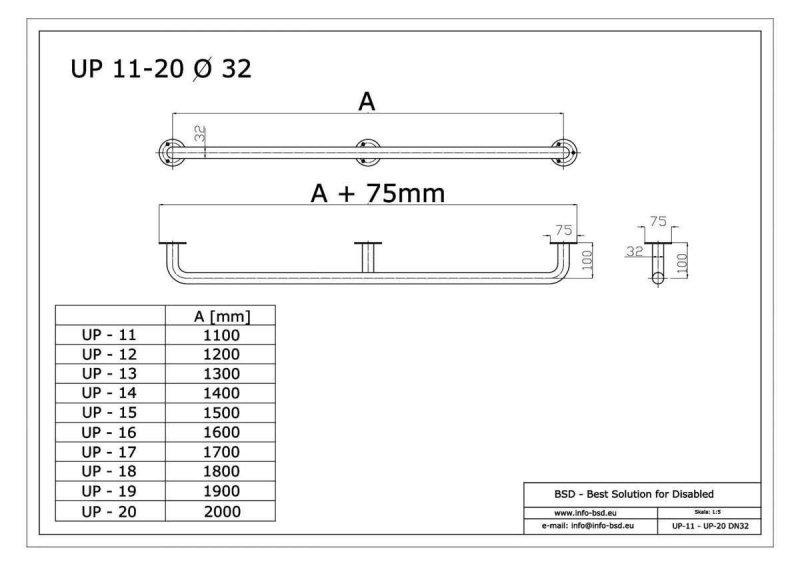 Handlauf für barrierefreies Bad 130 cm aus rostfreiem Edelstahl ⌀ 32 mm mit Abdeckrosetten
