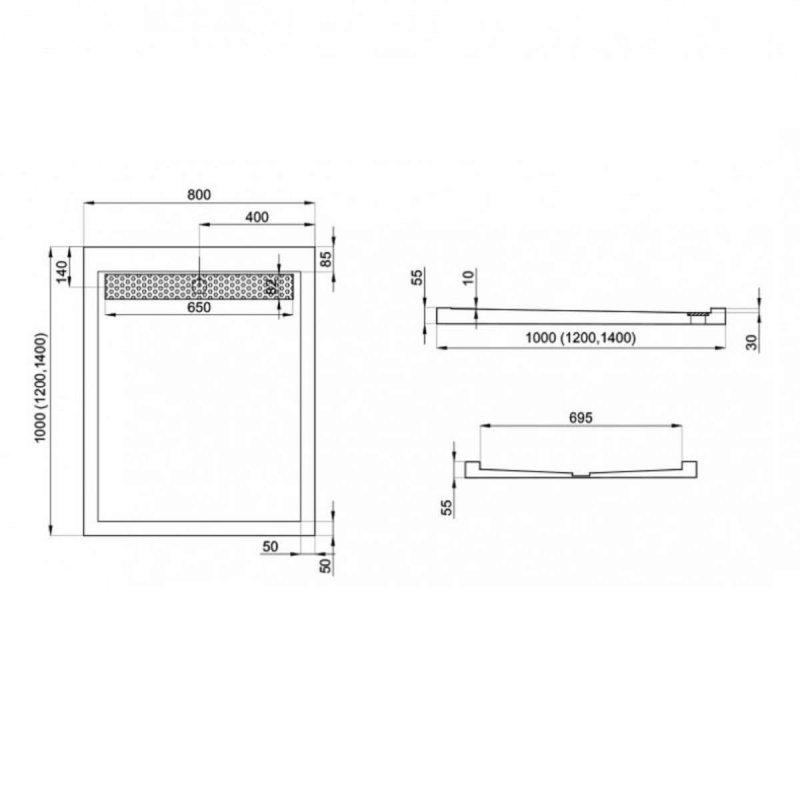 Duschwanne mit Duschrinne für barrierefreies Bad 140 x 80 cm