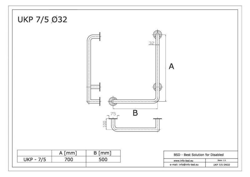 Winkelgriff für barrierefreies Bad 70/50cm rechts montiert. aus rostfreiem Edelstahl mit Abdeckrosetten