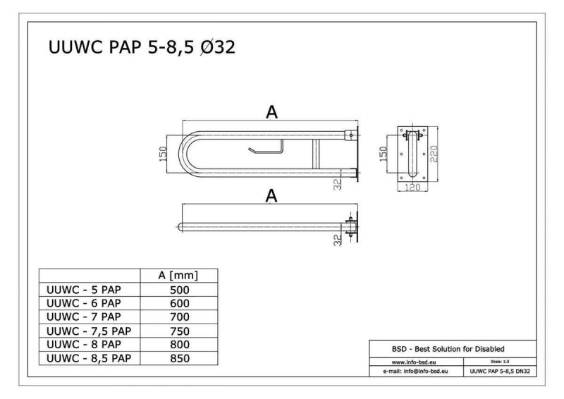 WC - Klappgriff für barrierefreies Bad mit Toilettenpapierhalter aus rostfreiem Edelstahl 75 cm ⌀ 32 mm