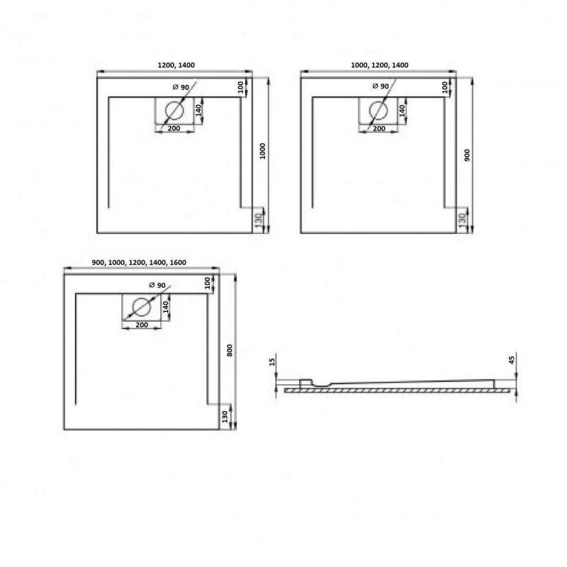 Weiße Duschwanne für barrierefreies Bad 100 x 90 cm