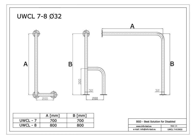 WC - Stützgriff für barrierefreies Bad zur Wand-Boden-Montage links aus rostfreiem Edelstahl 80 x 80 cm ⌀ 32 mm