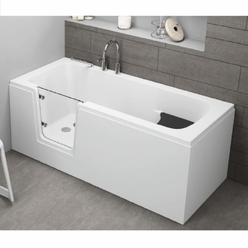 Badewanne für barrierefreies Bad mit Tür links und integrierter abnehmbarer Sitzbank für Senioren VOVO 180 cm
