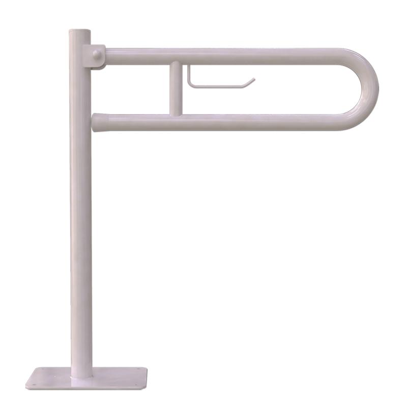 WC - Klappgriff für barrierefreies Bad freistehend mit Toilettenpapierhalter weiß 85 cm ⌀ 32 mm