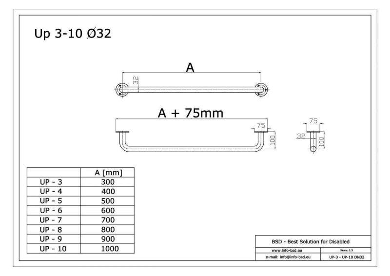 Haltegriff für barrierefreies Bad 50 cm aus rostfreiem Edelstahl ⌀ 32 mm mit Abdeckrosetten