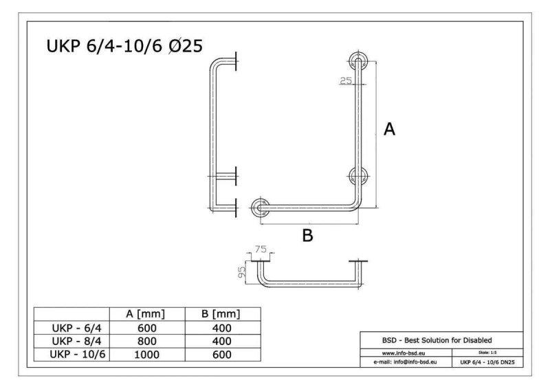 Winkelgriff für barrierefreies Bad 80/40 cm rechts montierbar aus rostfreiem Edelstahl ⌀ 25 mm