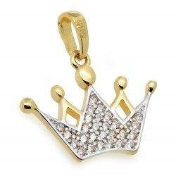 Złota zawieszka 585 korona z cyrkoniami