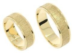 Obrączki ślubne złote 585 satyna płaskie 6 mm