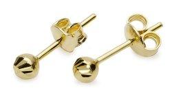 Złote kolczyki kuleczki diamentowane