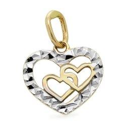 Zawieszka złota 585 diamentowane serca