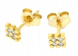 Złote kolczyki 585 kostka z cyrkoniami