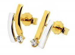 Złote kolczyki 585 z cyrkonią