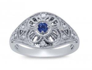 Wyjątkowy pierścionek zaręczynowy z białego złota 585 szafir
