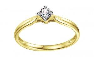 Pierścionek zaręczynowy 585 złoto dodatek białego złota 0,05ct