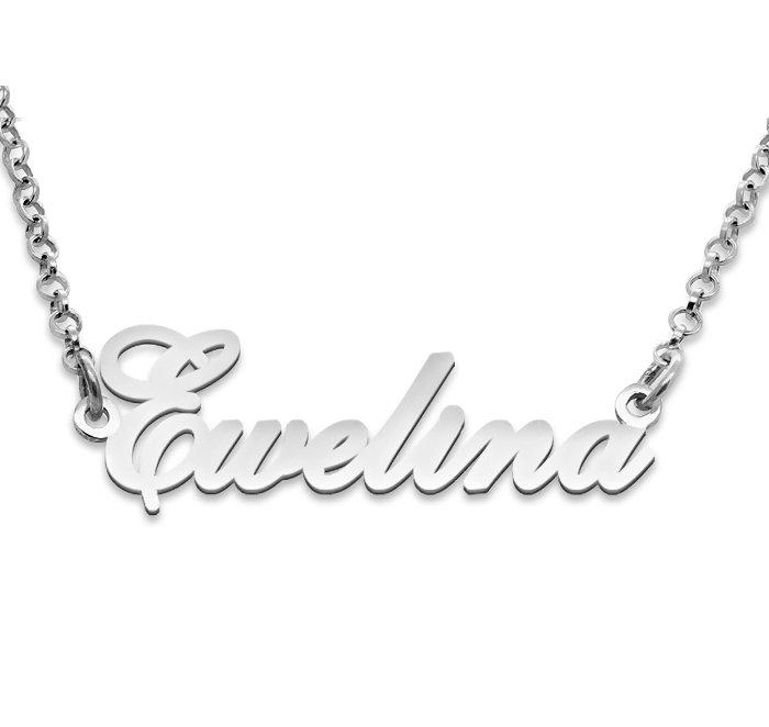 Srebrny napis Ewelina - naszyjnik z imieniem , srebro 925