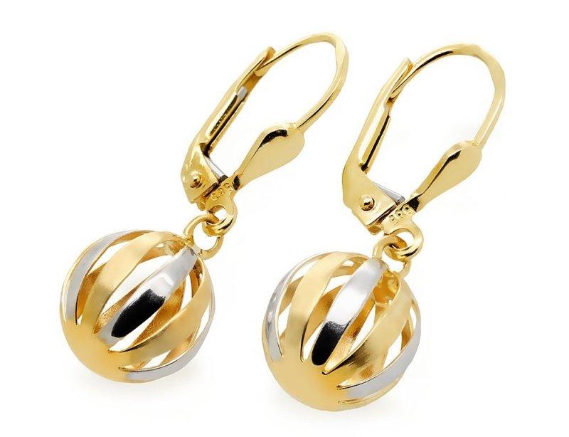 Złote kolczyki 585 kule