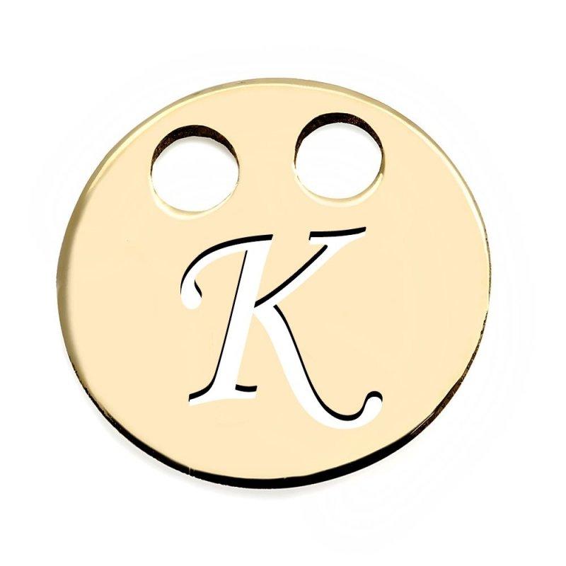 Złota zawieszka 585 kółeczko z literką K do celebrytki