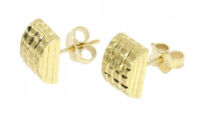 Złote kolczyki 585 diamentowane na sztyft