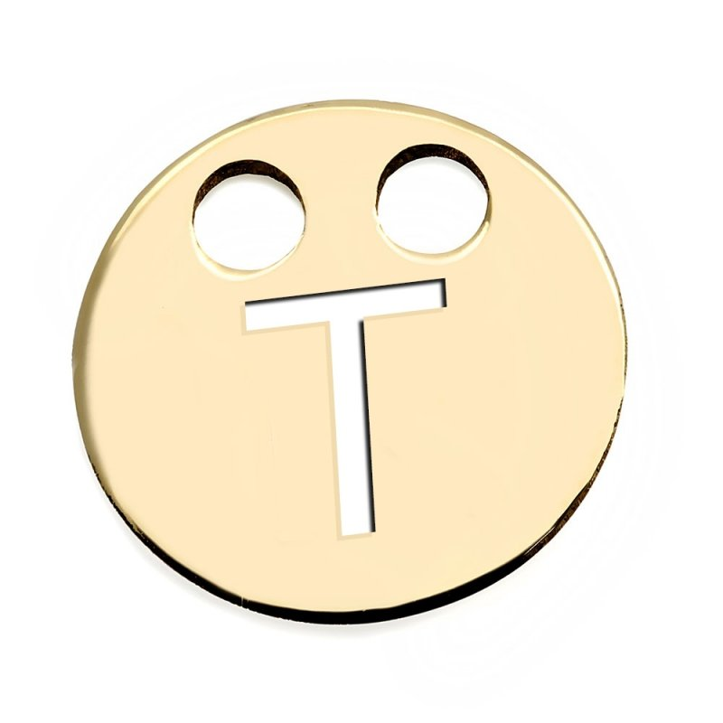 Złota zawieszka 585 kółeczko z literką T do celebrytki