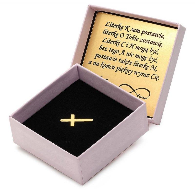 Złota zawieszka 585 krzyżyk do celebrytki