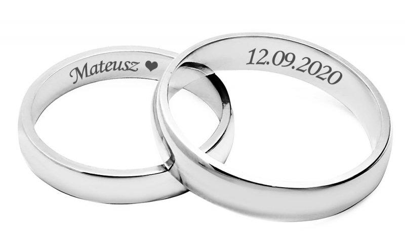 Ślubne obrączki srebrne 925 półokrągłe klasyczne 4 mm grawerowane
