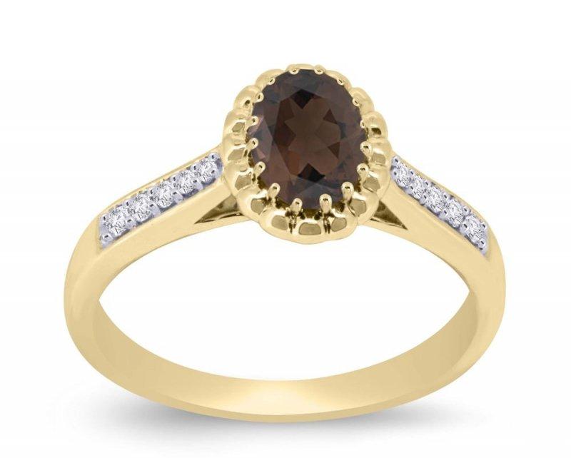 Złoty pierścionek zaręczynowy 585 kwarc i brylanty 0,11ct