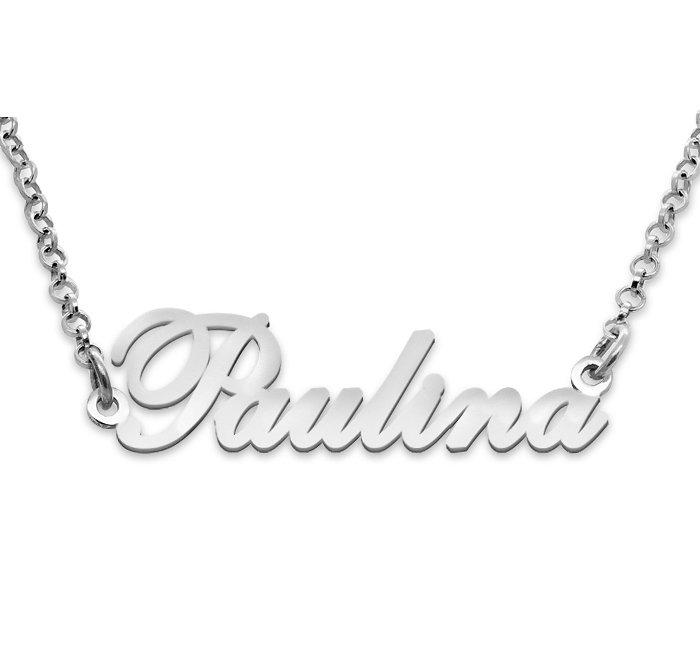 Srebrny napis Paulina - naszyjnik z imieniem , srebro 925