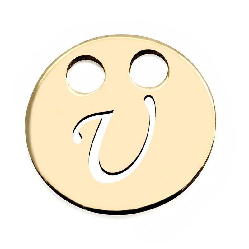 Złota zawieszka 585 kółeczko z literką U do celebrytki