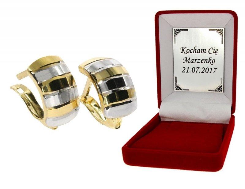 Kolczyki złote 585 diamentowane i rodowane