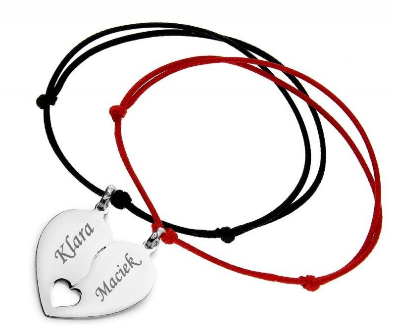 Srebrna bransoletka serce łamane 925 + dwa rzemyki