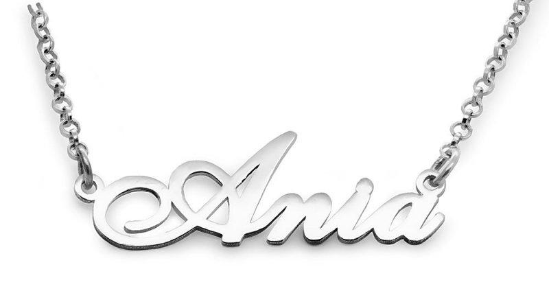 Srebrny napis Ania - naszyjnik z imieniem , srebro 925