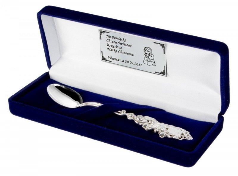 Łyżeczka srebrna 925 grawer pamiątka Chrztu cyrkonia SWAROVSKI