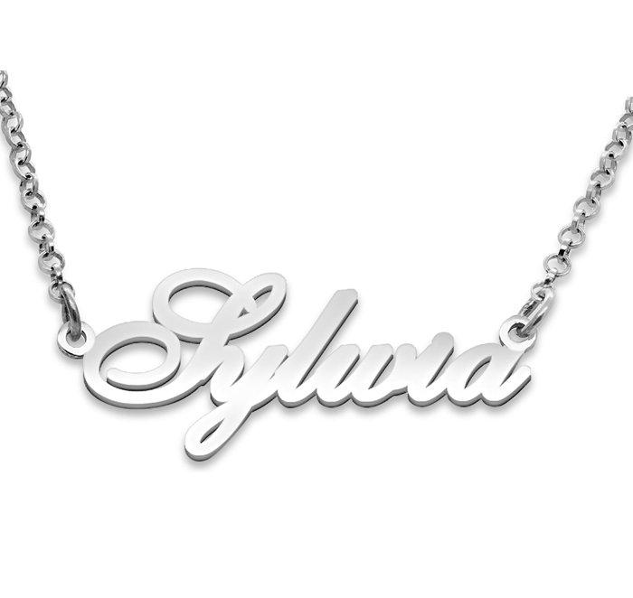 Srebrny napis Sylwia - naszyjnik z imieniem , srebro 925