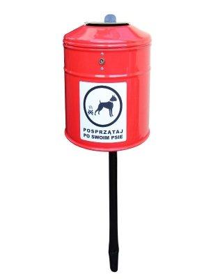 Kosz na psie nieczystości REKS ze słupkiem