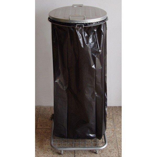 Stojak do worków na śmieci na kółkach W2Mp z pedałem